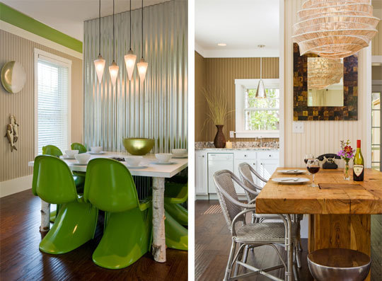 Two different cottage dining rooms